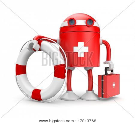 Robot with lifebuoy