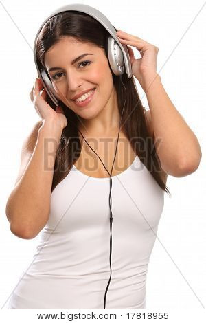 Girl listening to music on headset