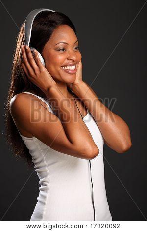 Beautiful music fan happy smile