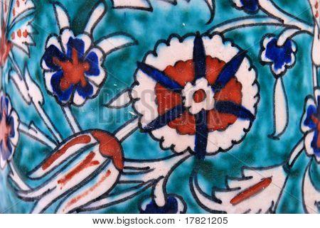 Pattern detail from an antique Islamic Iznik tankard