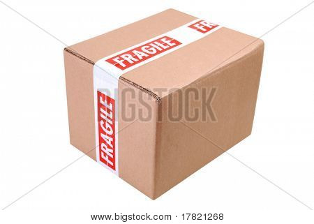 Cardboard box with fragile tape ready for safe despatch