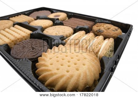 Tray of tea time biscuits – perspective view