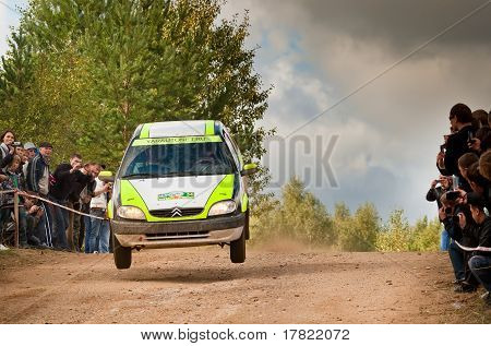 ROSTOV RUSSIA - SEPTEMBER 05: Igor Verter drives a green Citroen car during Rostov Velikiy Russian r