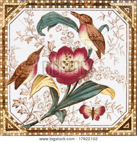Victorian aesthetic period painted bird design tile
