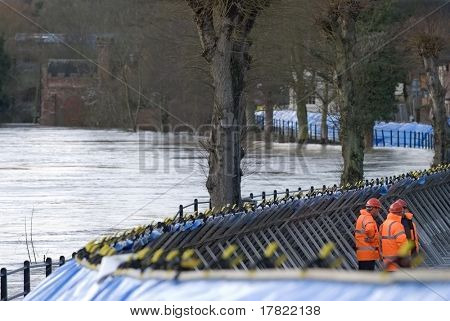 Temporary flood defences along with river severn in Shropshire, England