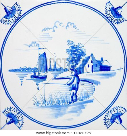 An old Dutch Delft blue & white scenic tile dating circa 1820