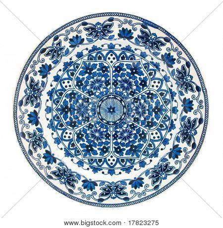 A Victorian blue & white persian style plate - genuine antiques series