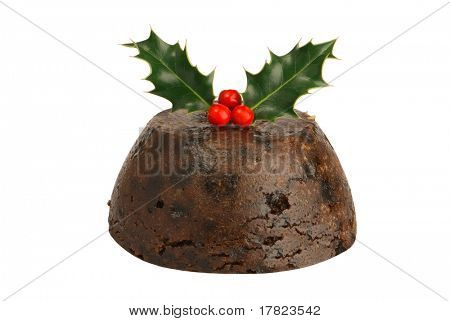 Isolated Christmas pudding with holly & berries