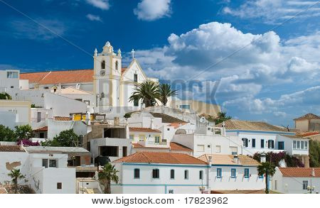 Old Portuguese village huddled on a hill, Algarve