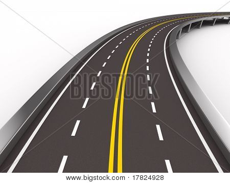 asphalted road on white. Isolated 3D image