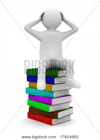 man sits on books. Isolated 3D image