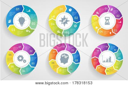 poster of Vector circle arrows for infographic. Template for cycling diagram, graph, presentation and round chart. Business concept with 3 4 5 6 7 8 options, parts, steps or processes