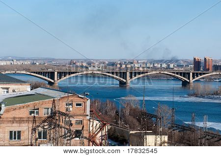 View on Krasnoyarsk and bridge over the Enisei river