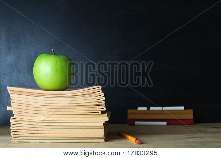 School Blackboard And Teacher's Desk