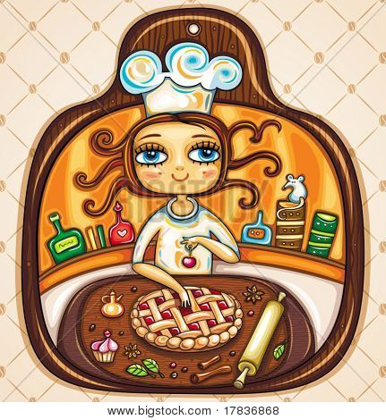 Colorful Illustration in the shape of cutting board. Cute girl  cooking cherry pie and placing cherry on top. The comfortable kitchen with cabinets, jars, roller, spices and essences.