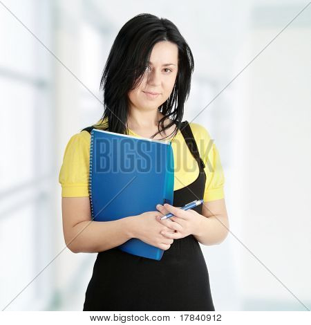 Young corpulency student  woman isolated on white background