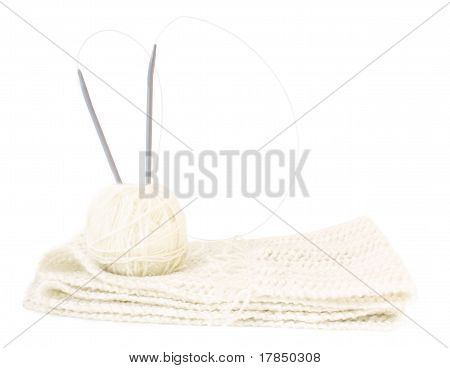 Knitting: White Threads, Pattern And Spokes