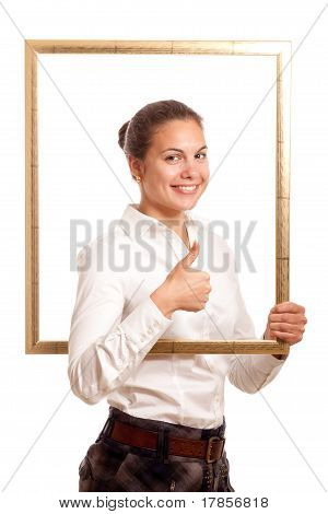 Young Businesswoman Frame Top