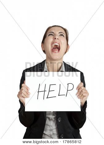 Stressed business woman imploring for help, holding a cardboard with the message