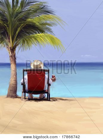 Digital oil painting of a man relaxing by the sea in a tropical beach