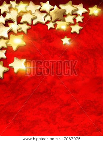 Golden stars over textured red surface