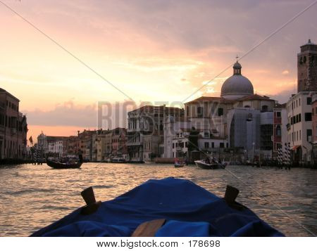 Sunset Canal Grande From Boat