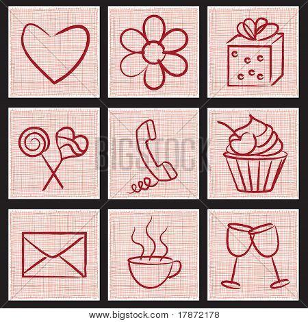 Símbolos de comunicación romántica sobre fondo texturizado
