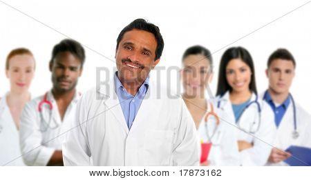 Indian latin expertise doctor multi ethnic doctors nurse in background