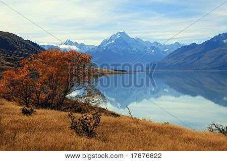 Landscape Of Mountain Cook With Its Reflection From Lake Pukaki