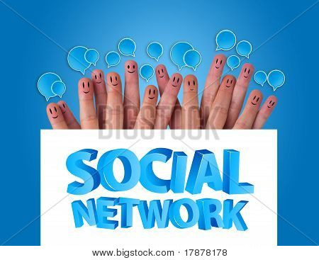Group Of Finger Smileys Holding Whiteboard With Social Network Sign