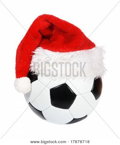 Santa Claus Hat On The Soccer Ball