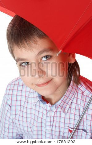 Boy With Red Umbrella, Over White