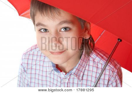 Boy With Re? Umbrella, Over White