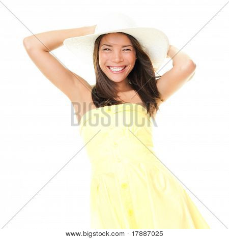 Woman Smiling In Summer Dress