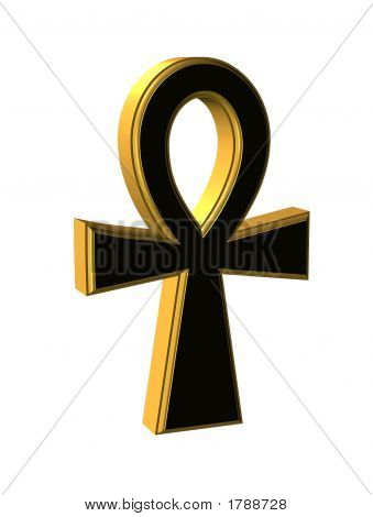 Gold And Black Ankh Over White