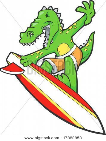 Surfing Alligator Vector Illustration