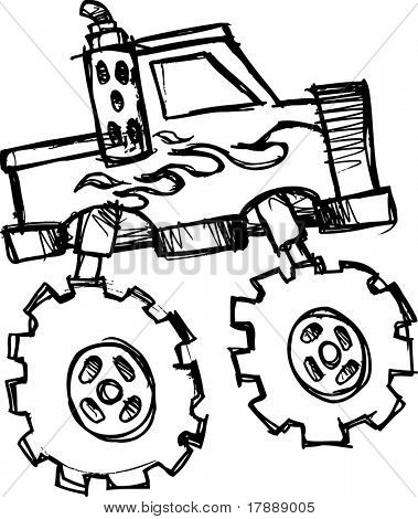 sketch of Monster Truck Vector Illustration