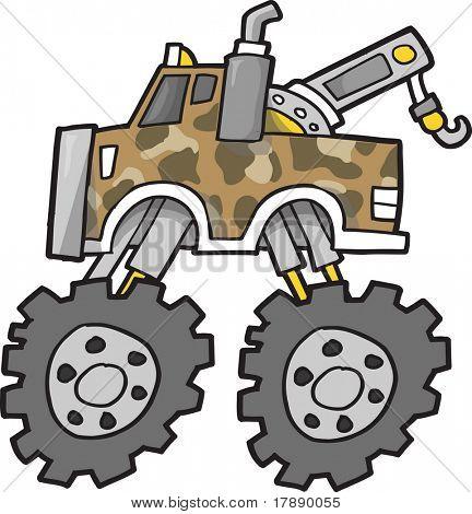 Monster Tow Truck Vector Illustration