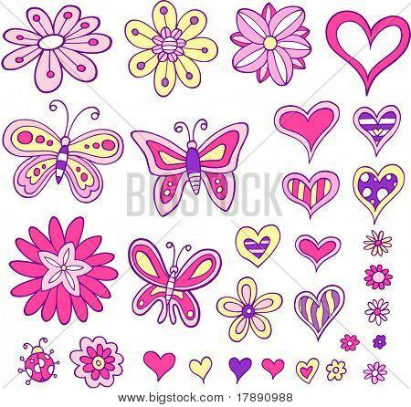 Flower Heart Butterfly Set Vector Illustration