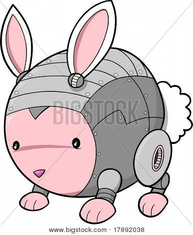 Cyborg Bunny Rabbit Vector Illustration