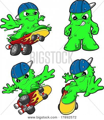 Skateboarding Booger Set Vector Illustration