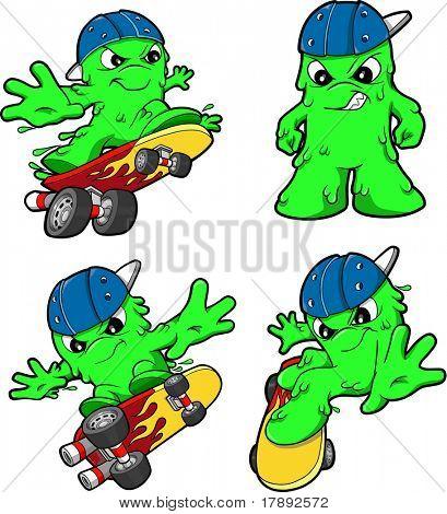 Skateboarding Booger Set Vector Illustration