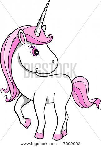 Pretty Unicorn Vector Illustration