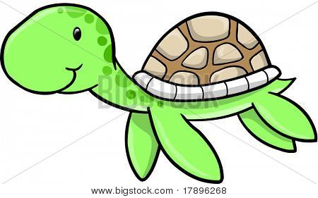 Cute Sea turtle Vector Illustration
