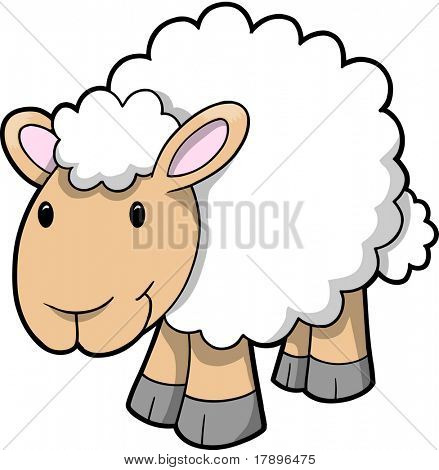 Vector Illustration of Happy Sheep