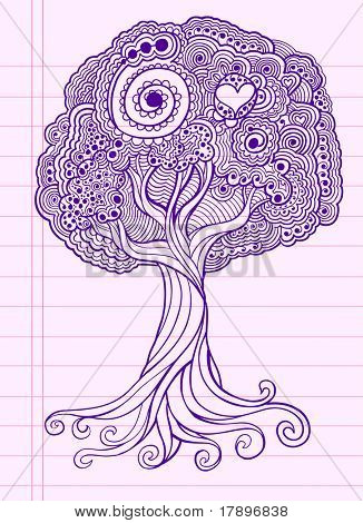 Doodle Henna Sketch Groovy Tree Vector Illustration