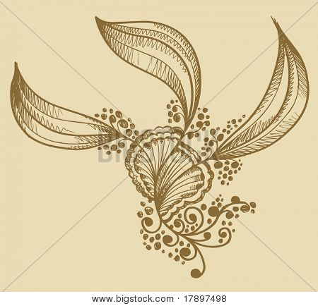 Henna doodle Flower design Vector