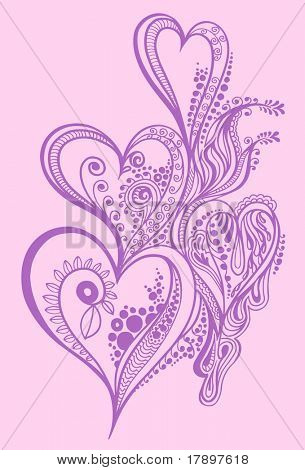 Henna doodle Heart design Vector