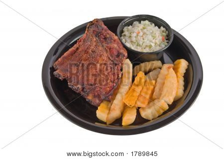 Bbq Ribs Plate On White