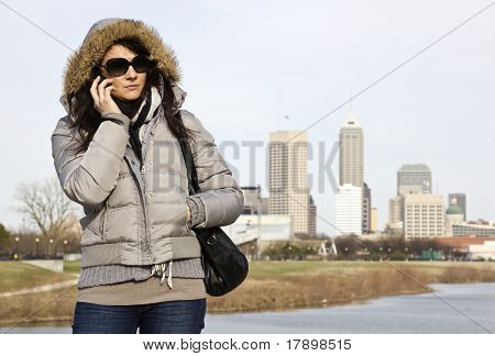Girl With The Phone In Indianapolis